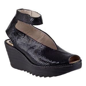 Fly London Yala Wedge Black Snake Leather Sandal